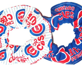 Chicago Cubs Fabric Hair Scrunchie MLB Baseball Scrunchies by Sherry