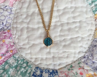 Vintage Baby Necklace - Tiny Blue Medallion of Mary on Gold Chain - A sweet gift idea