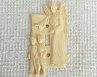 Vintage Guardian Angel with Children Molded Ivory Plastic Light Switch Cover - Sweet Vintage Nursery Decor