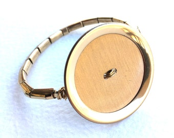 Gold Vintage Button Bracelet with repurposed metal watch band