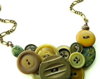 Holiday Jewelry Sale Vintage Button Necklace Woodland Goddess - Earth Tones Olive Green