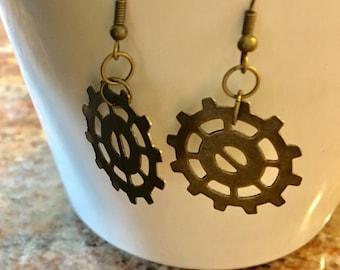 Bike Gear Earrings in Antique Gold Brass