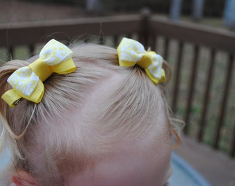 Yellow Baby Bows Set of Sunny Bow Clips No Slip Hair Clips for Girls Tiny Tuxedo Pair of Bright Toddler Hair Clip for Babies 2 Inch Hair Bow