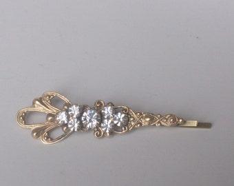 Victorian bobby pin crystal filigree rhinestone jewel golden brass bridal hair pin wedding hair slide vintage style