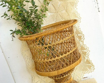 Put A Plant In It... Vintage Woven Wicker Rattan Planter Flower Pot Boho Bohemian Farmhouse Home Decor Garden Pedestal Vase