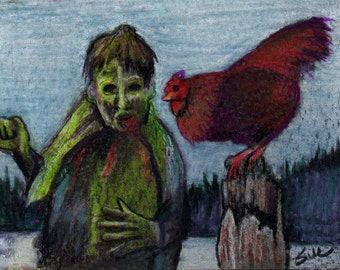 original art  aceo drawing walking dead zombie and chicken