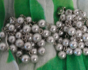 Grey Beaded Dangle Clip Earrings