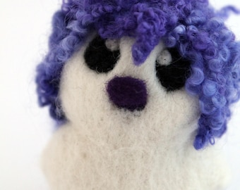 Violet and Purple Hairy Bird Needle Felted White One of A Kind Bird Violet