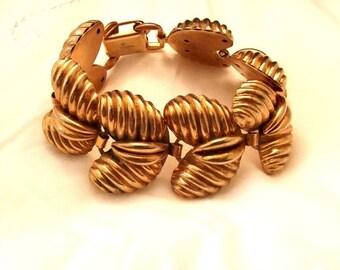 ON SALE Vintage Bracelet, Signed Bartek, Shiny Gold Tone, Links, Chunky, Modernist, Mid Century