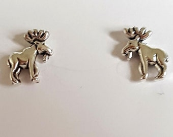 Sterling Silver Mini Moose Post Earrings