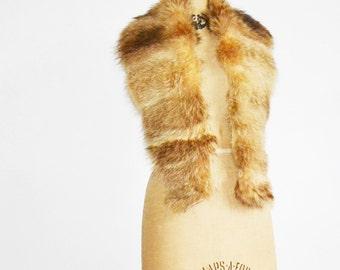 Vintage long Raccoon fur collar
