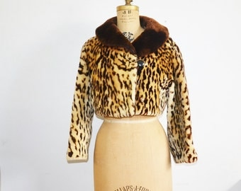 vintage Leopard print fur jacket faux leopard coat real mouton fur cropped jacket animal print coat