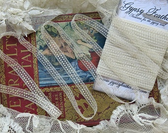 Narrow Vintage French Lace, Mini Spiders...Antique Insertion Lace Yardage Trim, 1+1/2 Yards, Fine Cotton, Crazy Quilting, Dolls ...LY170523
