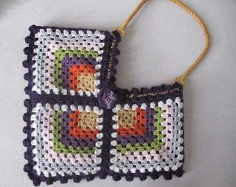Crochet bag, colorful motif handmade  bag,  fashion bag , crochet  bag and purse,