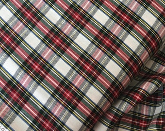 Tartan Plaid, Red White Plaid Fabric, Plaid Scarf fabric, Lightweight Plaid fabric, Tartan Plaid Scarf fabric, House of Wales