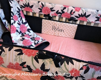 Coral Peach Navy Paeonia Grey Chevron Gold Dot Baby Girl Floral Nursery Crib Bedding Set made with Designer fabric CHOOSE and CUSTOMIZE