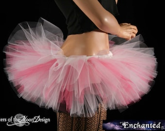 Adult Tulle tutu mini skirt Peek a boo pastel pink white teen dance bridal party ballet costume go go race  -You Choose Size - SOTMD