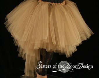 tutu tulle skirt ultra Ring Master Antique gold brown poofy carnival bridal steampunk wedding noir dance costume -You Choose Size - SOTMD
