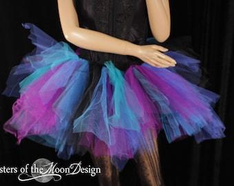 Ready to ship Tutu tulle skirt black purple blue trashy Small dance club wear gothic go go rave halloween cyber goth rave pirate - SOTMD