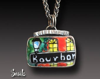 NEW ORLEANS Enamel on Fused Glass Pendant Sterling Silver