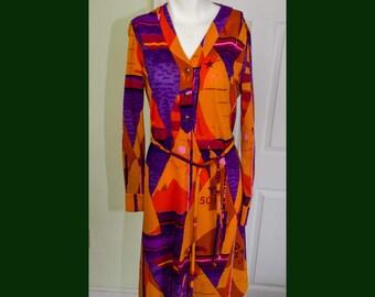 Vintage 1960's Designer Ken Scott Ban-Lon Orange Sailboat Embroidered Print Dress