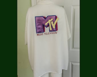 Vintage 1980's MTV Bowling Shirt with Large Embroidered Logo