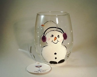 Hand Painted Snowman Stemless Wine or Juice Glass