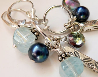 OOAK Artisan Fine Silver Bar Sterling Silver Rainbow Topaz Aquamarine Pearl Boho Hippie Gift for Her Long Dangle Earrings