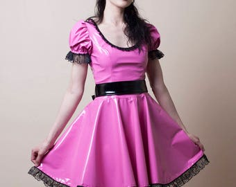 Pink PVC Babydoll Dress-Small (Sale)