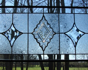 Crystal Diamonds stained glass panel window valance