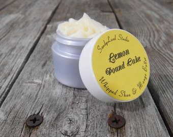 Lemon Pound Cake~Whipped Shea Butter~Mango Butter~ Body Butter~ Silver Jar~ Deluxe Cream~Spa~Travel Size