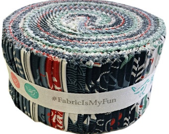 """SALE 20% Off Riley Blake By The Sea Rolie Polie 2.5"""" Fabric Quilting Strips Jelly Roll rp-5700-40"""