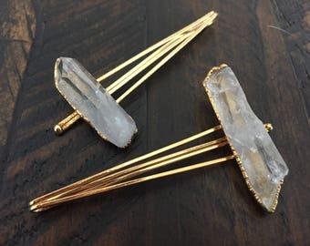 Dara Ettinger 14kt gold plated natural quartz point barettes, set of 2