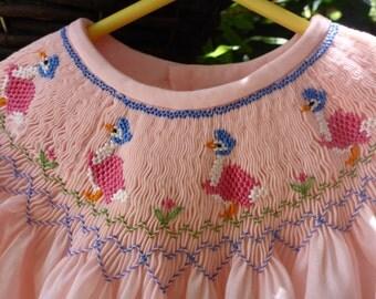 Bishop Yoke Dress with 'Jemima Puddle-duck' Smocking