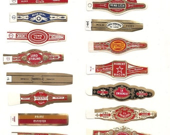 190 CIGAR BAND Labels -new old stock cigar bands 1930+ Due to the continuing Ofac sanctions against Cuba origin of labels from u.s.