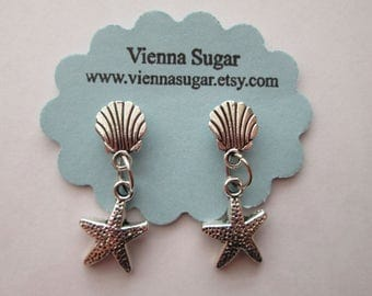 Silver Starfish and Seashell Magnetic Clip On Dangle Earrings
