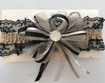 Champagne Black Prom Garter