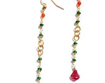 Long 14k Gold Chain and Gemstone Earrings / Long Gold Earrings w/ Raw Green Onyx Carnelian Raw Tourmaline Gemstones / Long Gemstone Earrings