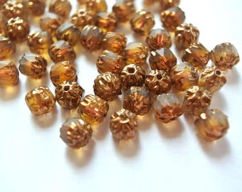 20 Beads, glass,6mm, translucent glass in topaz color with gold ornment, Czech beads