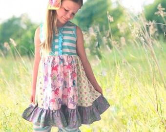 Horse Spring Summer dress girls toddler Momi boutique custom dress