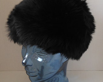 Vintage 50s Black Fox Fur Cloche Hat by Designer Marie Noel New York at Wagoner Marsh
