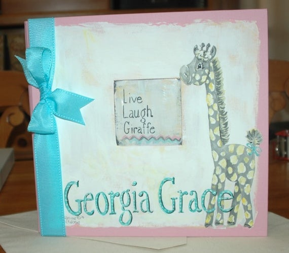 Live, Laugh...Giraffe Baby Memory Book in Pinks and Zig Zag Chevron Stripes