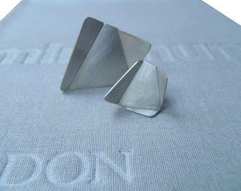 Origami pin in brushed or blacked sterling