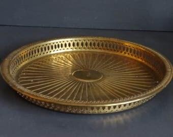 Round Brass Tray Sunburst Design