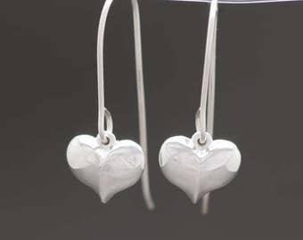 Little Heart Dangle Earrings in Sterling Silver
