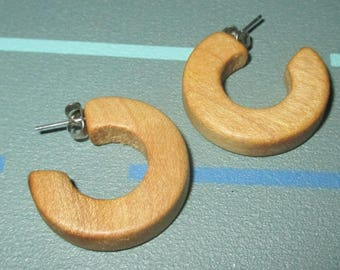 Vintage MOD Chunky Wood Hoop Earrings