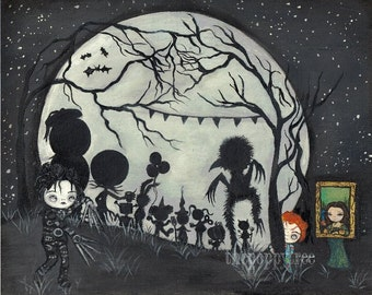 Costume Party  Original Painting Cute Halloween Wall Art 8 x 10 Full Moon