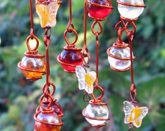 Tequila Sunrise Swirl Suncatcher with Copper Wrapped Ruby Red, Tangerine & Clear Glass Marbles and Yellow Swirl Glass Butterflies
