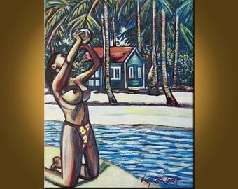 Caribbean Girl -- 24 x 30 inch Original Oil Painting by Elizabeth Graf on Etsy -- Art Painting, Art & Collectibles