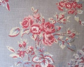 Vintage Laura Ashley Fabric Remnant Rose Pink Green Blue on Gray Background English Country